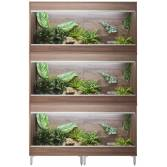 Vivexotic Large Maxi 3-Stack Vivariums 1150mm Walnut with Feet