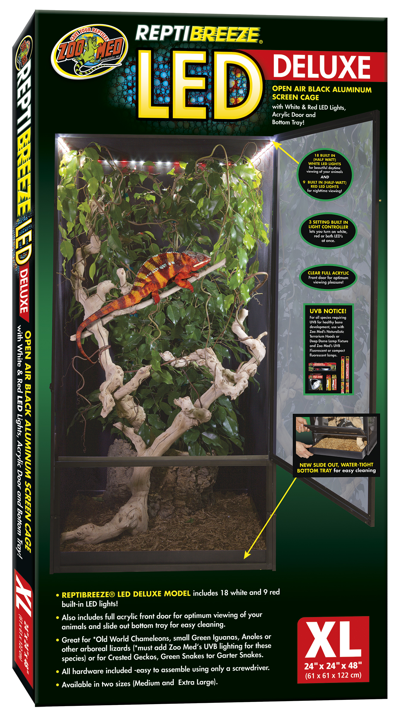 Zoo Med Reptibreeze Led Cage X Large 61x61x122cm