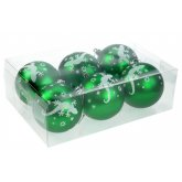 Blue Bug Christmas Green Baubles 6 pack