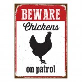 Beware Sign Chicken 'Tin'