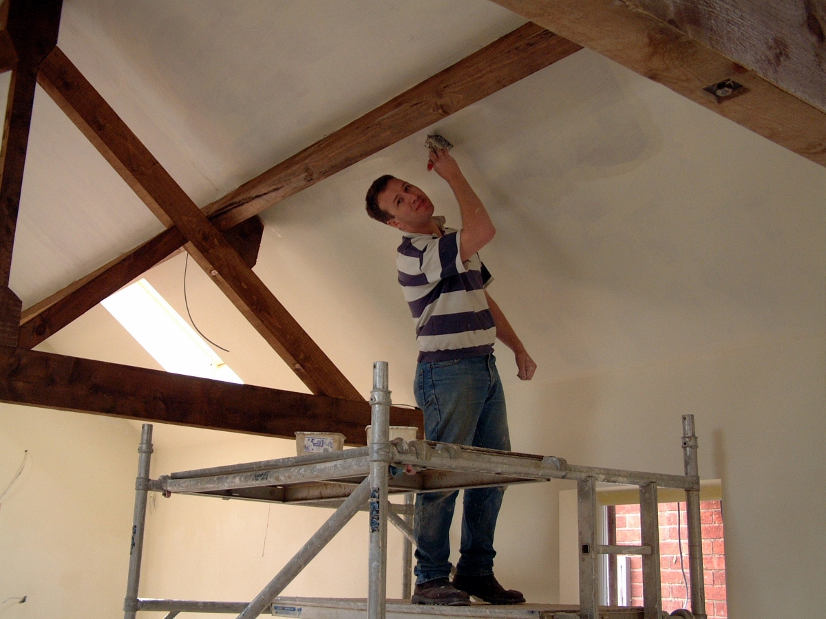 Antony painting the ceiling