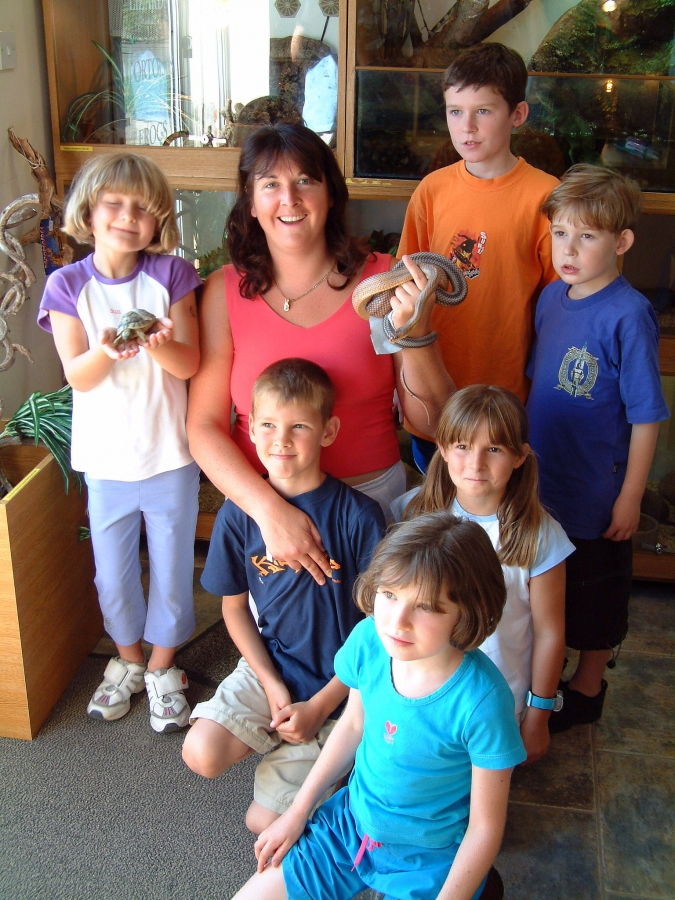Lois with gang of kids including a young Cameron
