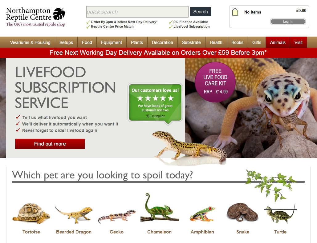 Our current reptile centre website