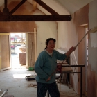 Lois painting the walls