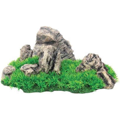 AquaSpectra Aquarium Rock with Grass 33cm