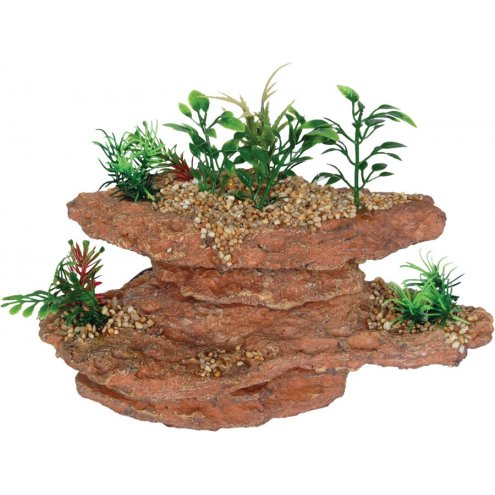 AquaSpectra Platform Rock with Plants 21.5cm