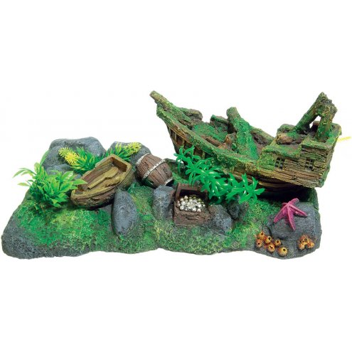 AquaSpectra Shipwreck Scene wth Plants