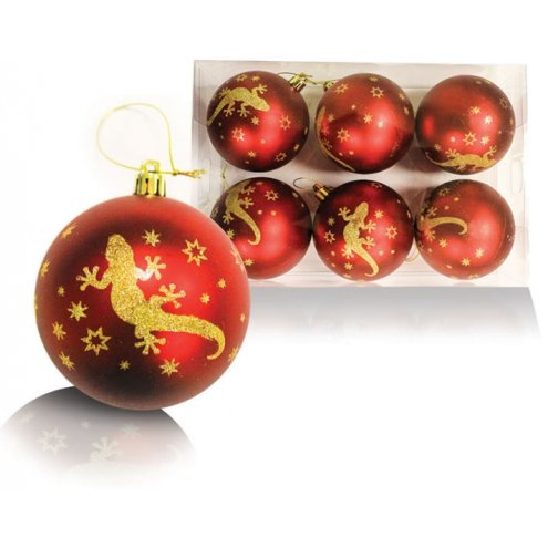 Blue Bug Christmas Red Baubles 6 pack