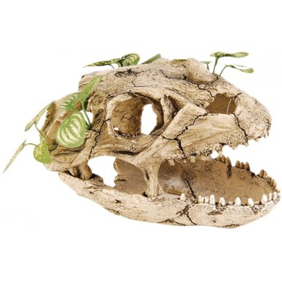 RepStyle Skull with Silk Plant 21.5cm
