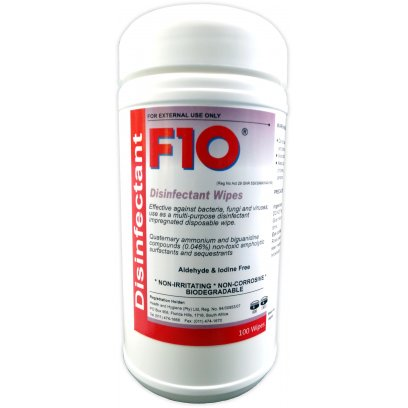 F10 Disinfectant Wipes (dispensing pack 100)