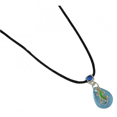Blue Bug UV Mood Necklace Gecko Blue