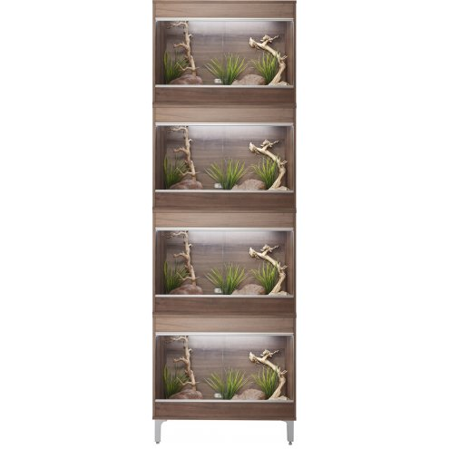 Vivexotic Repti-Home 4-Stack Vivariums - Small Walnut with Feet 57.5cm
