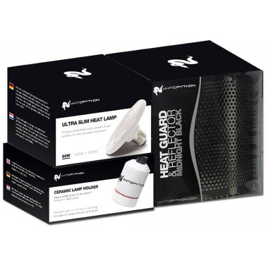 White Python 60w Ceramic Heater, Holder, Guard & Reflector Black