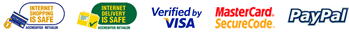Secure shopping with Verified by Visa, Mastercard Securecode & PayPal